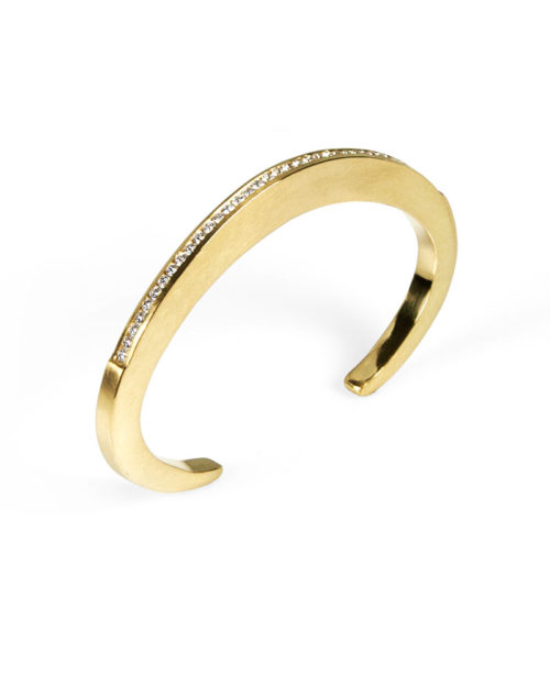 18k Gold Diamond Sculptural Cuff Bracelet