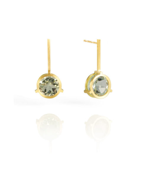 18k Gold Green Amethyst Earrings