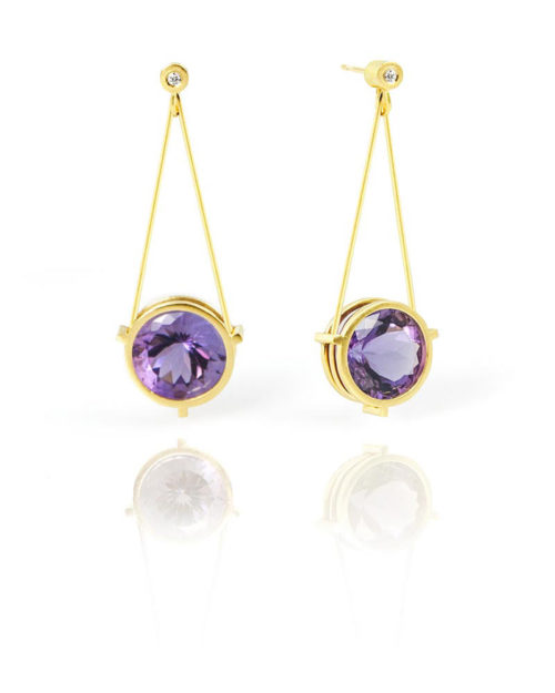 18k Gold Amethyst Diamond Earring Drops