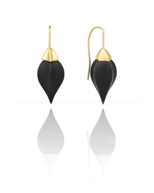 18k Gold Black Onyx Earrings