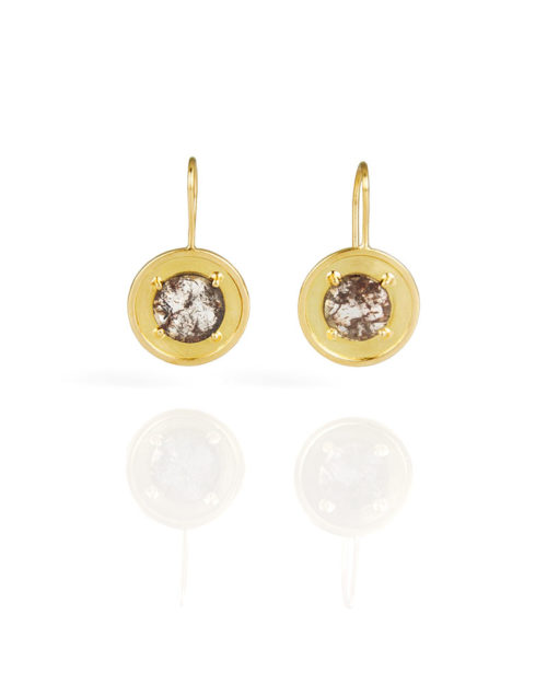 18k Gold Diamond Slice Earrings