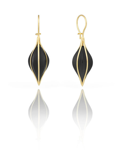 18k Gold / Black Onyx Ribbed Earring Drops