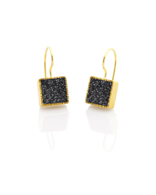 22k Gold Black Druzy Earring Drops