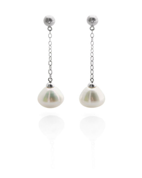 Palladium South Sea Pearl Earring Drops