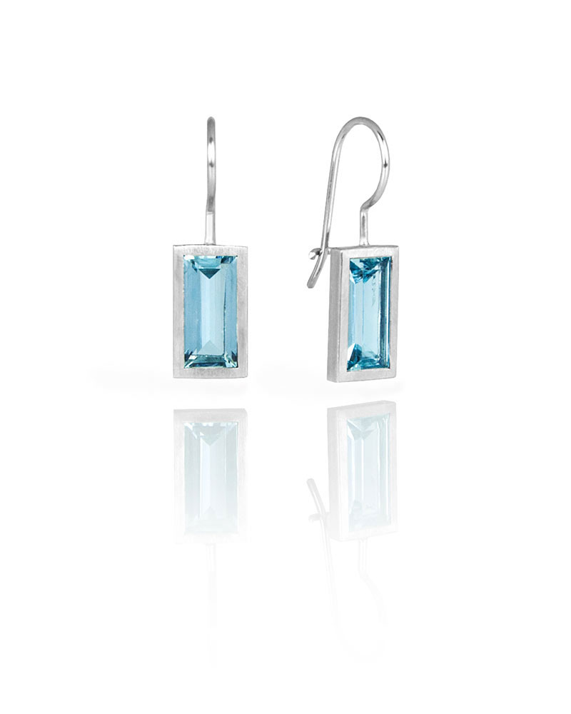 Palladium Rectangular Aquamarine Earrings