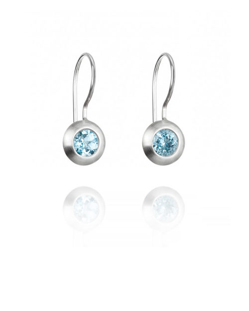 Palladium Aquamarine Circle Earrings