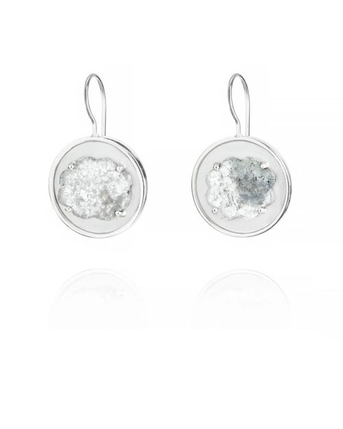 Palladium Diamond Slice Earrings