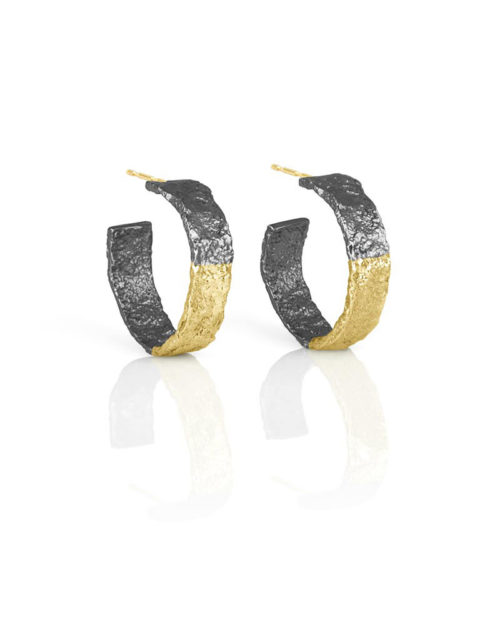 18k Gold Silver Textured Hoops