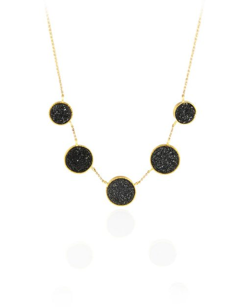 22k Gold Black Druzy Necklace