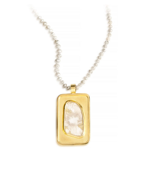 18k Gold Rectangular Diamond Slice Pendant