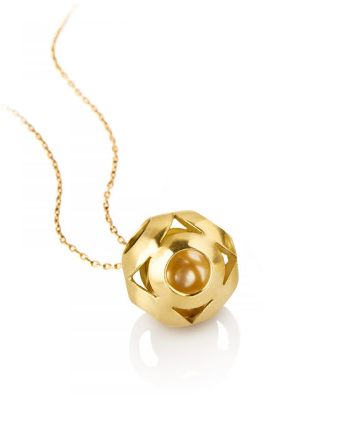 18k Gold South Sea Pearl Escher Pendant