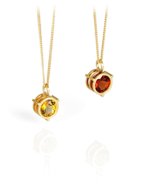18k Gold Citrine Garnet Pendants
