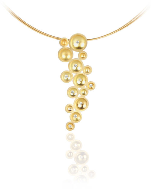 18k Gold Diamond Bubble Drop Pendant