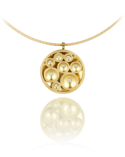18k Gold Diamond Circular Bubble Pendant