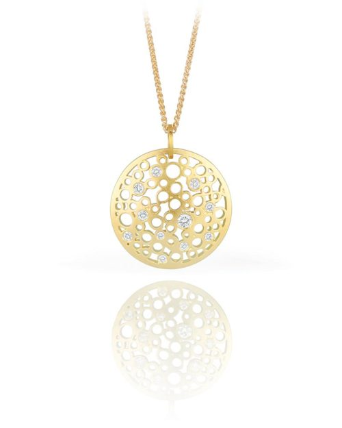 18k Gold Diamond Lace Pendant
