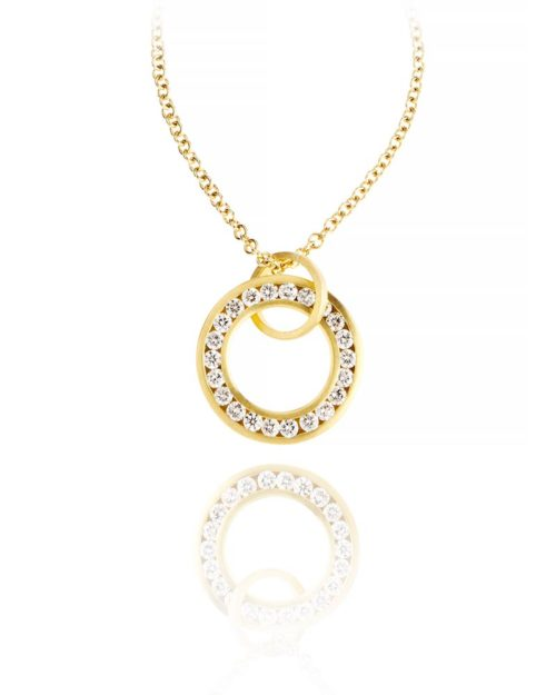 18k Gold Diamond Circle Pendant