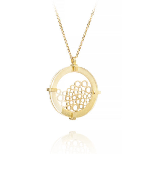 18k Gold Circle Slice Shaker Pendant