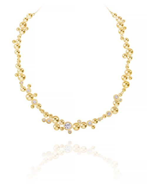 18k Gold Diamond Cup Necklace
