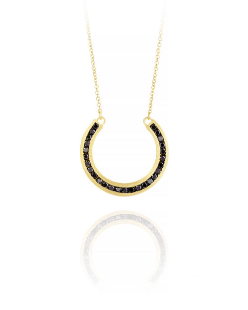 18k Gold Black Diamond U Necklace