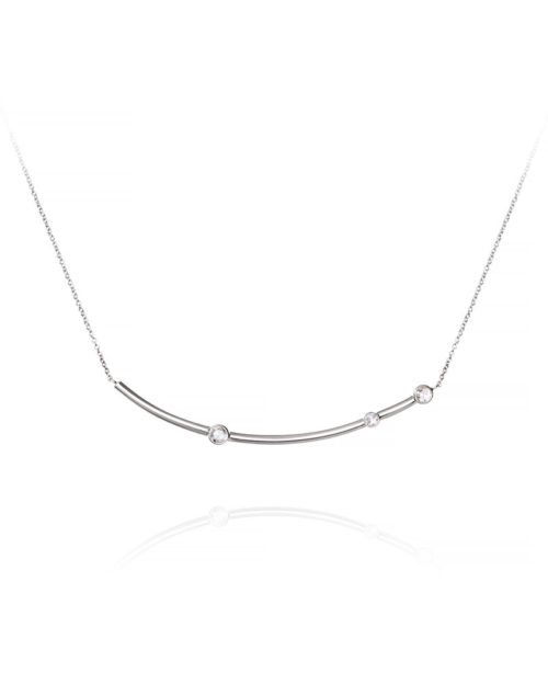 14k Gold Rose Cut Diamond Bar Necklace