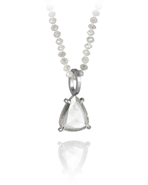 Palladium Diamond Slice Pendant