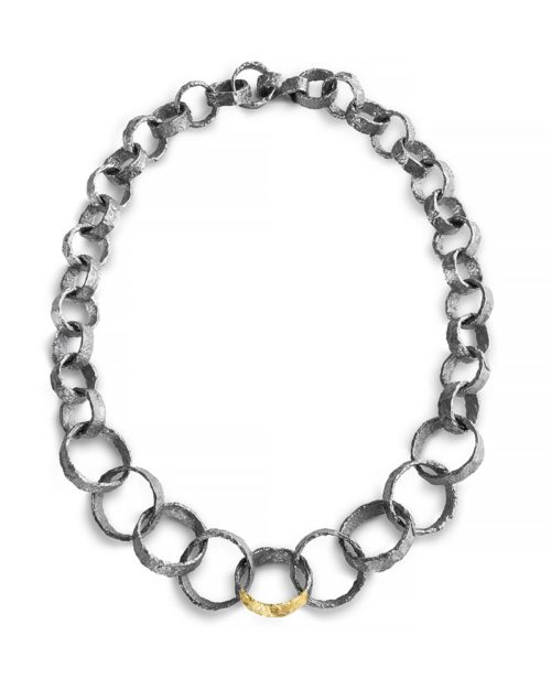 18k Gold and Silver Textured Ring Necklace