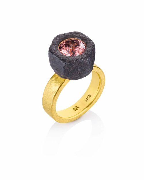 22k Gold Pink Tourmaline Ring