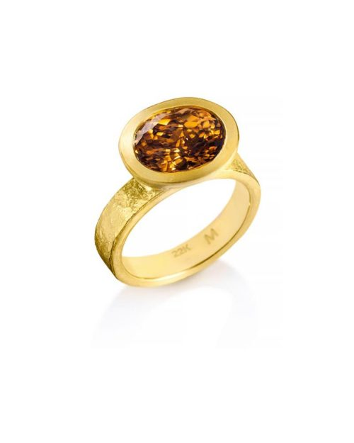 22k Gold Cognac Zircon Ring