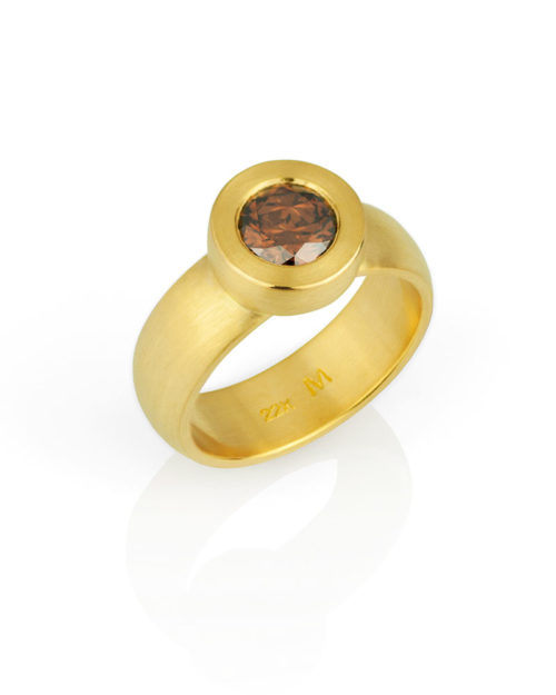 22k Gold Cognac Diamond Ring