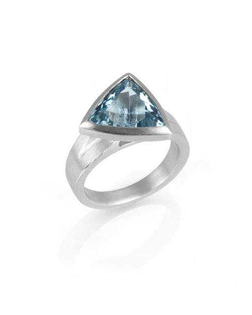 Palladium Triangular Aquamarine Ring