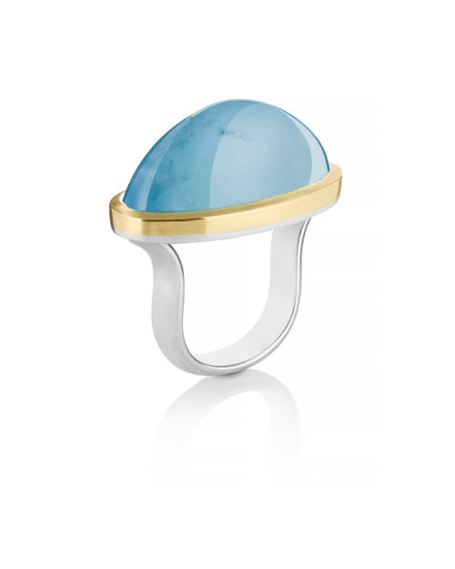 18k Gold Silver Oval Aquamarine Ring