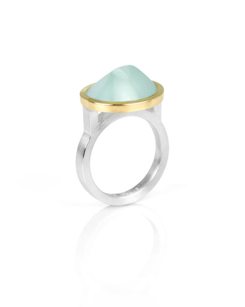 18k Gold Silver Conical Aquamarine Ring