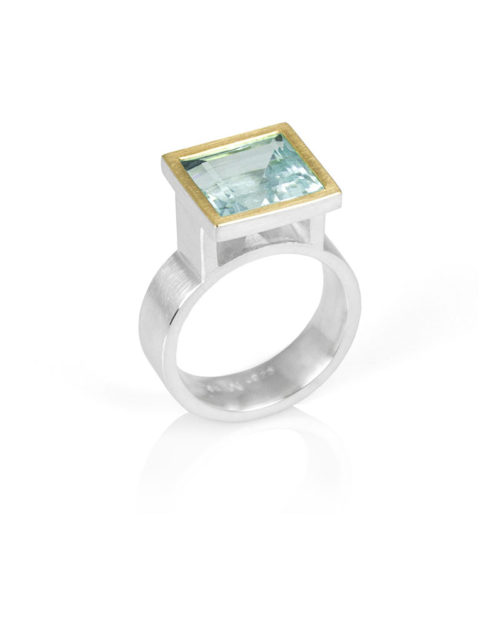 18k Gold Silver Square Aquamarine Ring