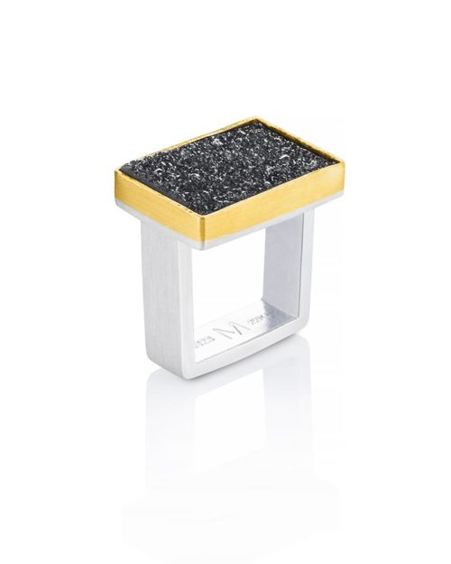 22k Gold Silver Rectangular Druzy Ring