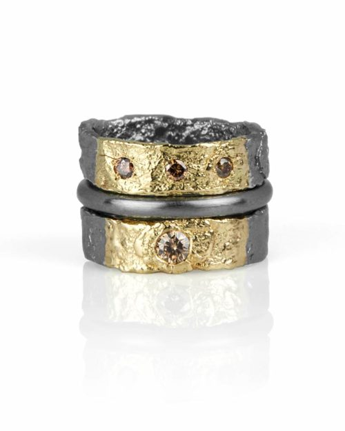 18k Gold Silver Cognac Diamond Ring Set
