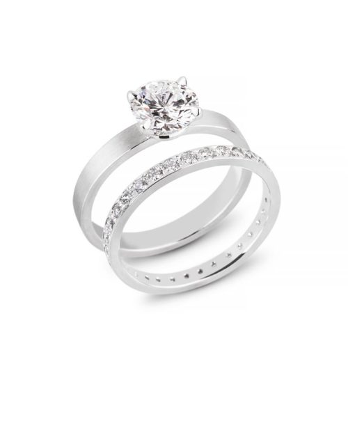 Platinum Four Prong Engagement Ring, Bead Set Wedding Band