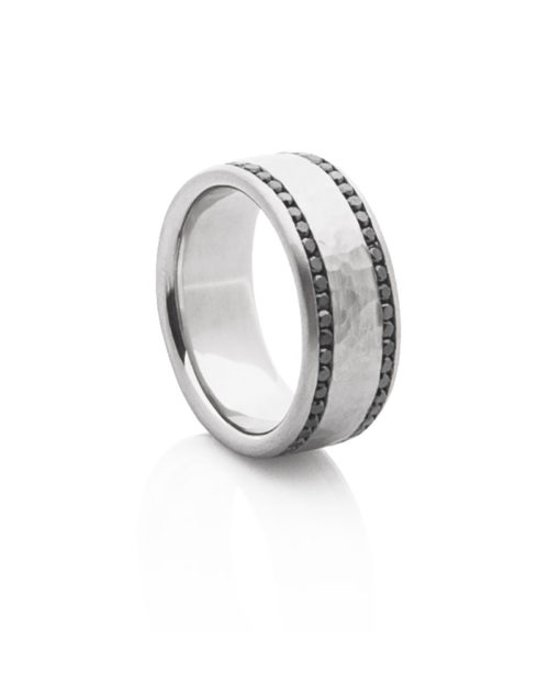 Palladium Black Diamond Wedding Band