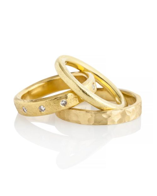 18k Gold Diamond Textured Band Wedding Engagement Set