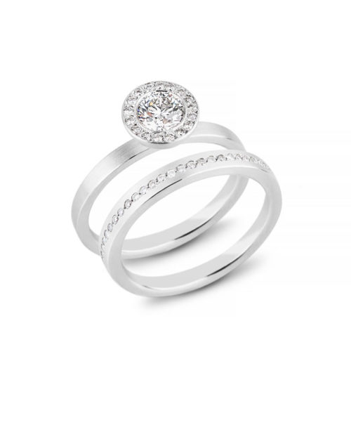 Platinum Halo Engagement Ring, Bead Set Diamond Wedding Band