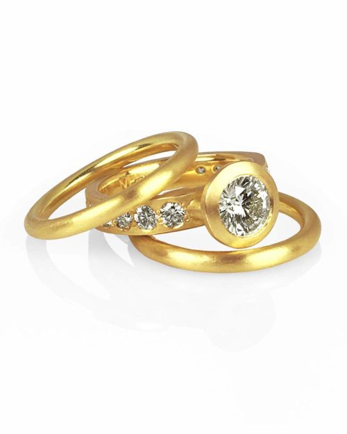 22k Gold Diamond Ring Wedding Engagement Set