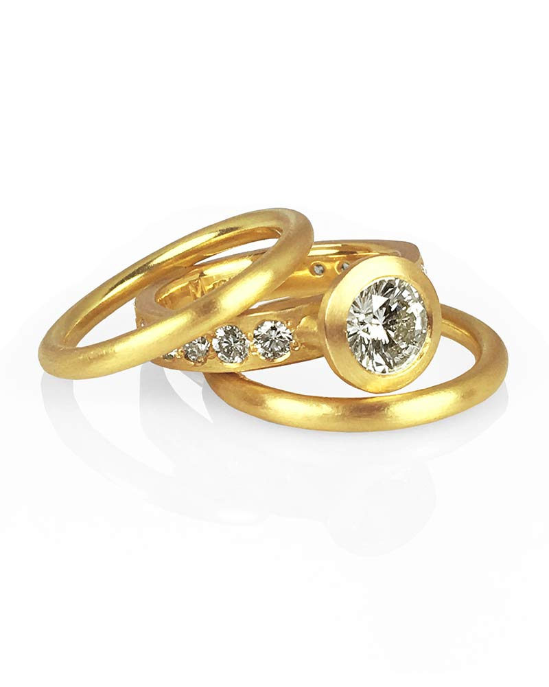 22k Gold Diamond Ring Wedding Engagement Set