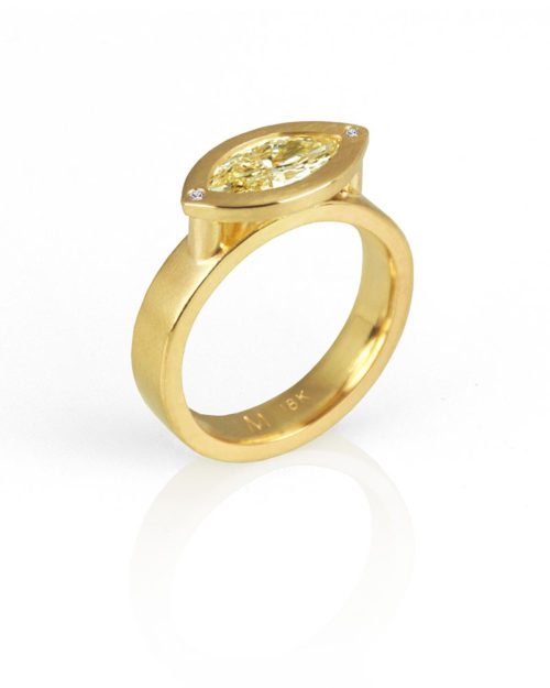 18k Gold Marquis Diamond Engagement Ring
