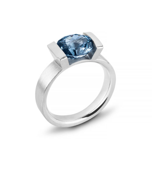 Palladium Blue Spinel Engagement Ring