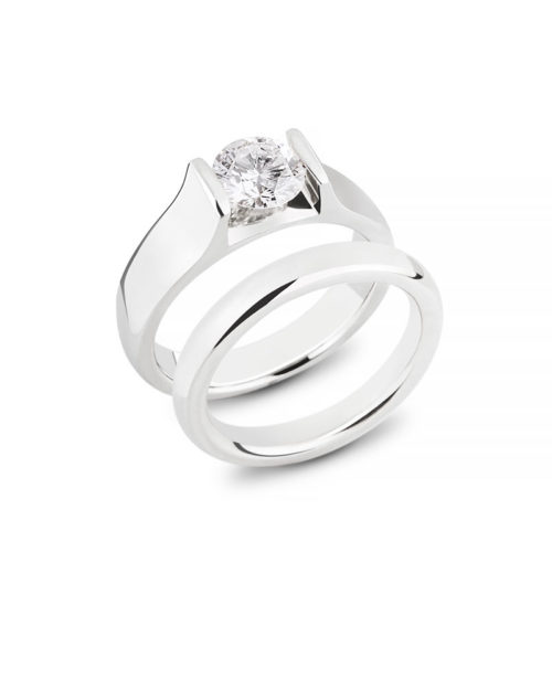 14k White Gold Diamond Leore Wedding Engagement Ring Set