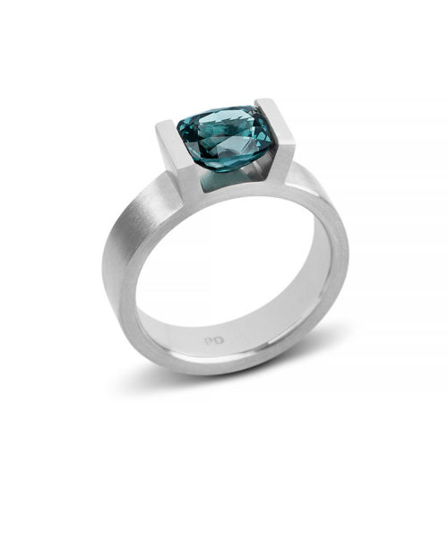 Palladium Teal Spinel Engagement Ring