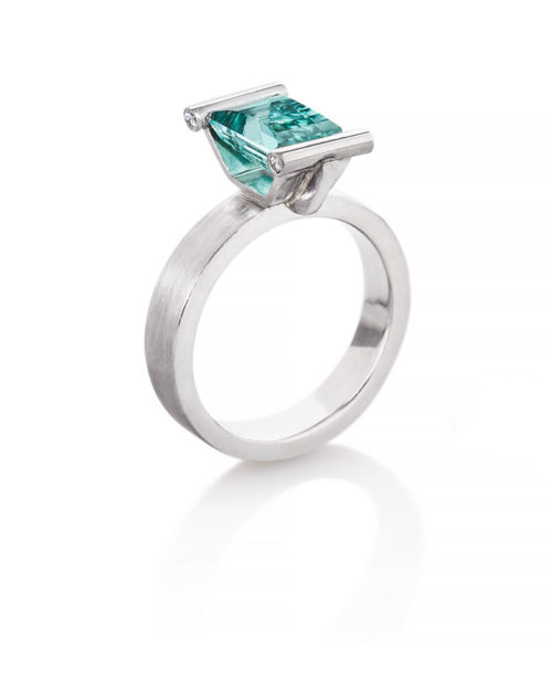 Palladium / Afgani Tourmaline Engagement Ring