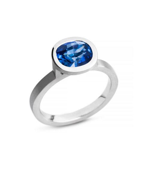Platinum Cushion Cut Sapphire Engagement Ring