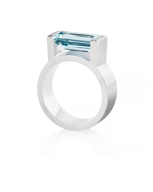Palladium Rectangular Aquamarine Wedding Engagement Ring