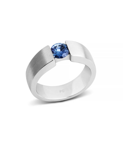Wedding and Engagement Palladium Round Cut Sapphire Ring