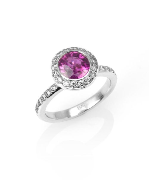 Platinum Diamond Pink Sapphire Halo Engagement RIng